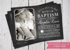 LDS Baptism Chalkboard Invitation and Announcement by PocketFullofPixels, $13.50