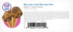 Second ice cream cone free at Baskin Robbins coupon via The Coupons App