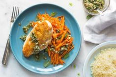 The recipe, developed for us by the cooks of the Williams-Sonoma test kitchen, marks the start of an exciting new partnership between Sun Basket and the iconic housewares company. The contrast of flavors and textures is inspired, from the rustic mint pesto for the chicken, to the sides of couscous and lemony sautéed shredded carrots. If you don't manage to finish off the pesto, any leftovers will be equally good with fish or lamb. #dairyfree #soyfree