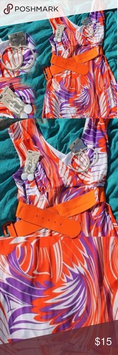 Cool Breezy Summer Dress (Plus) Lightweight stretchy fabric makes this dress sexy yet comfy! Knee length on most. Comes with belt. Does not come with earrings. Really good condition. Dresses