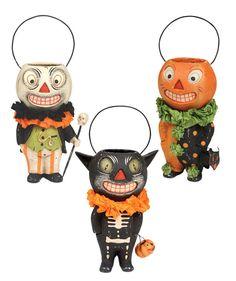 Paper Mache Halloween Buckethead Characters from TheHolidayBarn.com