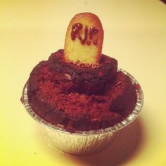 Muffin with chocolate, and R.i.p. on the top on a bisquit