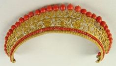 Empire Tiara, France (early 19th c.; coral, brass or gold).