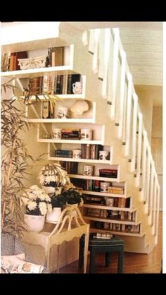 shelves under stairs space saver