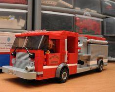 Custom City Fire Engine Truck NC model built by ABSDistributors Lego Fire, Lego Vehicles, Lego Design, Custom Lego, Cool Lego, Car Wheels, Fire Engine, Lego Ideas, Fire Trucks