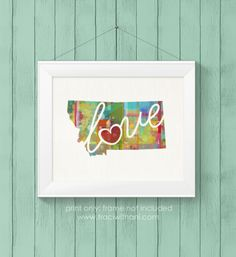Montana (MT) Love Canvas Paper Watercolor Home Decor / State Silhouette Wall Art Print