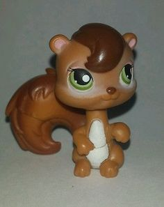 Littlest Pet Shop Brown Squirrel Green Eyes #195 Preowned