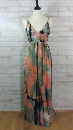 be5386b8fb Lisbon Beachy Tie Dye Maxi Dress - Black Orange. Debra s Passion Boutique