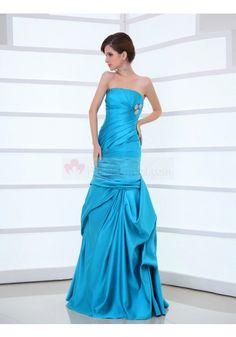 Strapless Floor Length Sleeveless Trumpet Mermaid Evening Prom Dress