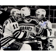 Brian Leetch Signed 94 New York Rangers GravesLeetchMessier Huddle Up BW 16x20 Metallic Photo - Rangers Great Brain Leetch has personally hand-signed this 94 New York Rangers Graves Leetch & Messier Huddle Up B/W 16x20 Metallic Photo. Brian Leetch is one of the best defensemen to ever play the game of hockey. During his 18 year career Leetch won Rookie of the Year the Norris Trophy twice best defenseman playoff MVP and in 1994 led the New York Rangers to their first NHL Stanley Cup in 54…