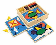 Beginner Pattern Blocks : A perfect first manipulative! Five two-sided boards with ten recessed design templates are ready to fill with these brightly colored geometric shapes. Complete the pictures, or create your own designs and matching activities. Everything stores neatly in the sturdy wooden storage box.Extension Activities: More Ways to Play and Learn:Choose a block and show it to the child. Identify its shape and color. Ask the child to select a matching block. Repeat the activity…
