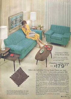 60's Living Room  * Sofa & Chair OMG!! This is the exact living room furniture we had in the 60s.  Same color and everything.