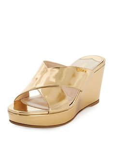 Prada Metallic Crisscross Sandal Slide, Platino, Size: 40.5B/10.5B