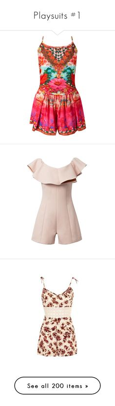 """""""Playsuits #1"""" by dreamsweet98 ❤ liked on Polyvore featuring jumpsuits, rompers, sleeveless rompers, long-sleeve rompers, playsuit romper, beach romper, short rompers, nude, black and floral romper"""