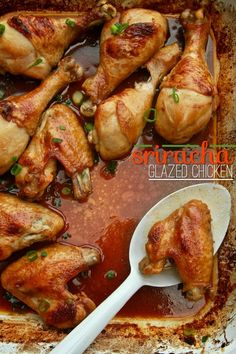 Sriracha Glazed Chicken recipe slightly adapted  from Everyday Food Magazine (sniff sniff) serves 3-4 1/4 cup soy sauce 2 tablespoons plus 1 teaspoon white vinegar 1 tablespoon Sriracha sauce 1 tablespoon sugar 1 1/2 teaspoons toasted sesame oil 1 1/2 teaspoons freshly grated ginger 2 lbs. chicken wings/drumsticks 2 chopped green onions (both white & …
