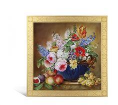 """Wandbild """"Stillleben mit blauer Blumenschale und Früchten"""", 60 x 60 cm"""