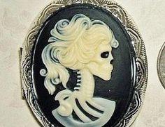 SKELETON Skull Lady CAMEO Pendant LOCKET Necklace