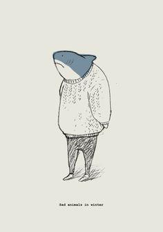 Sad animals in winter shark illustration, winter illustration, shark painting, shark drawing, Art Inspo, Kunst Inspo, Inspiration Art, Art And Illustration, Witcher Wallpaper, Arte Peculiar, Arte Indie, Arte Dope, Art Mignon