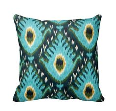 Bold Aqua Ikat Throw Pillow Cover by by PrimalVogueHomeDecor
