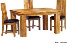 Indian Hub Metro Acacia Dining Set with 4 Chairs - Daining Table, 4 Chair Dining Table, Tables, Round Dining Table Small, Small Dining Sets, Modern Design Pictures, Chair Design, Interior Design, Furniture