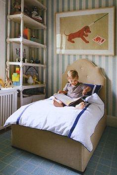little Boys Room. tufted camel headboard. striped wallpaper.