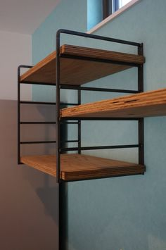 ・・・ Wood Ladder Shelf, Hanging Shelves, Wood Shelves, Shelving, Miscellaneous Goods, Vintage Shelf, Home Garden Design, Modern Cabinets, Pipe Furniture
