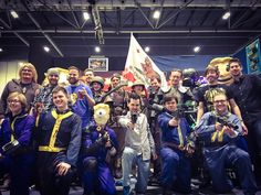 Yogscast at MCM taking a pic with some Fallout cosplayers