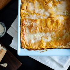 Pumpkin Lasagne | Food & Wine ~No need to roast fresh pumpkin for this dish (although you certainly could); using canned unseasoned pumpkin puree is much quicker, and it works just fine. Like most lasagnes, this one is easier to cut if left to set for ten minutes or so before serving.