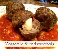 Mozzarella Stuffed Meatballs... spaghetti night just got a WHOLE lot more interesting!