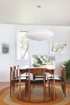 Dining Room — Post and Beam Living Teak Dining Chairs, Dining Room, Mod Furniture, Nelson Bubble Lamp, Oak Hardwood Flooring, White Fireplace, Post And Beam, Mid Century Modern Furniture, Midcentury Modern
