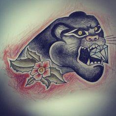 #tattoo #ezlaurent #panther #pencil #old-school #panther #sailor #diamond