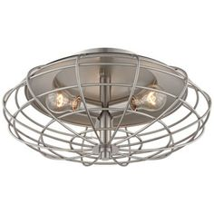 "Industrial Cage Nickel 7 1/2"" High Ceiling Light Fixture"