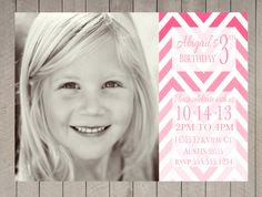 Ombre Chevron Birthday Invitation Girl First Pink Photo Digital Printable Electronic. $16.00, via Etsy.