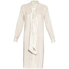 Maison Margiela Pinstriped washed silk-habotai dress (11.384.500 IDR) ❤ liked on Polyvore featuring dresses, beige stripe, white striped dress, beige silk dress, loose fitting dresses, striped necktie and striped neck ties