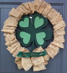 Burlap Ribbon Saint Patrick's Day Wreath. The four leaf clover created by ArtXiDesigns.