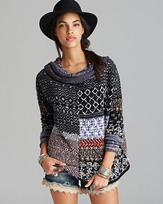 Free People Pullover Patchwork Favorite in Multicolor (Americana Combo) Boho Crochet, Knit Crochet, Recycled Sweaters, Sweater Refashion, Lana, Knitwear, Knitting Patterns, My Style, How To Wear