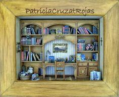 Patricia Cruzat Artesania y Color: Biblioteca con muchos libros en miniatura!, y más...
