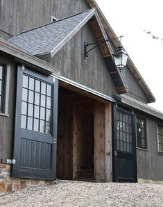Things Friday Beautiful gray barn - great design concept for garage. Love the doors. Our future barn replacement.Beautiful gray barn - great design concept for garage. Love the doors. Our future barn replacement.
