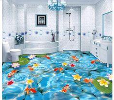 3D wallpaper custom mural pvc bathroom floor painting 3 d cobble floor tile HeChi brocade carp self-adhesion floor wallpaer