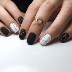 Matte black nails, accent nail white nail polish with silver colored geometric l. - Matte black nails, accent nail white nail polish with silver colored geometric lines … – Matte - Wedding Manicure, Wedding Nails For Bride, Bride Nails, Matte Black Nails, White Nail Polish, Trends 2018, Black And White Nail Designs, Geometric Nail Art, Geometric Lines