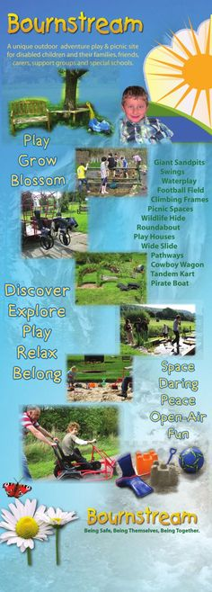 Bournstream banner - A unique outdoor adventure play and picnic site for disabled children and their families, friends, carers, support grou...