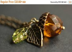 MOTHERS DAY SALE Amber Orange Acorn Necklace. Amber Acorn Pendant. Crystal Acorn Necklace. Glass Acorn Charm Necklace. Bronze Acorn Jewelry by StumblingOnSainthood from Stumbling On Sainthood. Find it now at http://ift.tt/2qOO7zE!