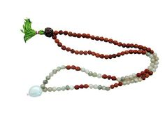 Green Jade Heart Chakra - Ganesha Rudraksha Prayer Beads Yoga Japa Mala 108 + 1