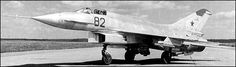 Mikoyan-Gurevich Ye-8 was a supersonic jet fighter developed in the Soviet Union from and to replace the MiG-21 (originally named MiG-23). Only two prototypes were built in 1960-61. The original MiG-21's air intakes were moved under the fuselage, freeing up the nose where a larger and more powerful radar able to deliver longer range air-to-air missiles could be built in. Canards were built to both sides of the nose, in front of the cockpit.