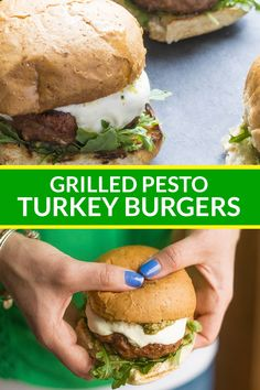 These juicy grilled pesto turkey burgers are topped with fresh pesto, spicy arugula, and creamy mozzarella cheese. Vegetarian Barbecue, Barbecue Recipes, Vegetarian Cooking, Vegetarian Recipes, Healthy Recipes, Tasty Meals, Easy Turkey Recipes, Turkey Burger Recipes, Dinner Recipes
