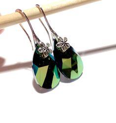 Scarabeus Green Swarovski Earrings Green Swarovski by orangewind