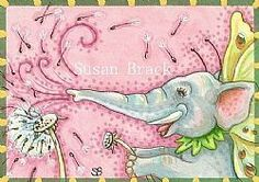 Dandelions are made for blowing.  Susan Brack Original Elephant Art EBSQ CP Licensing