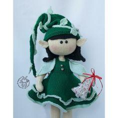 Elf doll knitted flat Knitting pattern by Girl Elf, Boucle Yarn, Elf Doll, Christmas Knitting Patterns, Plymouth Yarn, Cascade Yarn, Paintbox Yarn, Dog Sweaters, Red Heart Yarn