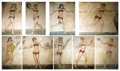 Bikini Girls, women at the gym in ancient Pompeii