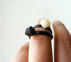 mini rings #ring #black #ivory #white #shiny #matte #handmade #ammjewelry #jewelry #geo #faceted #jewel